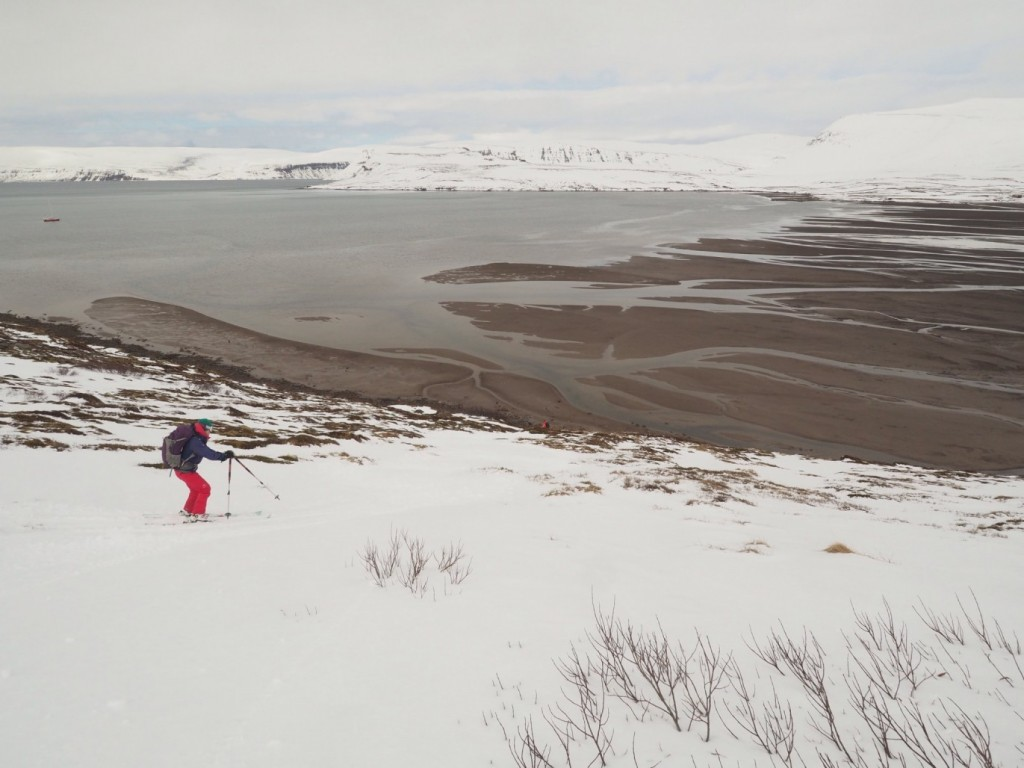 Unusually sparse snow cover in Isarfjordur, Iceland. April 2017